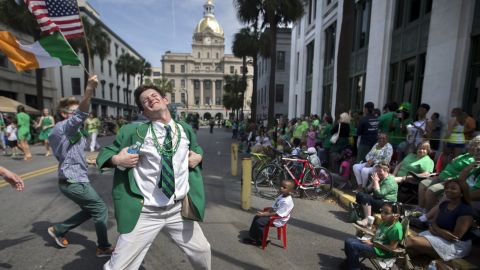 They're so friendly in Savannah, Georgia, they don't mind folks doing this. Even if it is St. Patrick's Day.