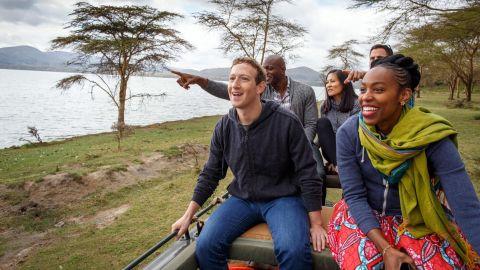 Mark Zuckerberg and members of his team at Facebook go on safari at Lake Naivasha in Kenya on September 1.