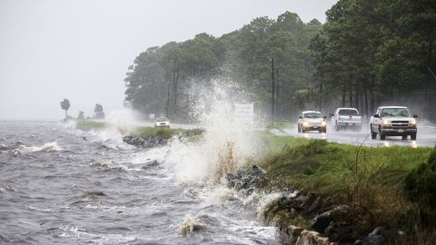 Traffic moves along U.S. Route 98 as Hermine approaches Eastpoint, Florida, on September 1.