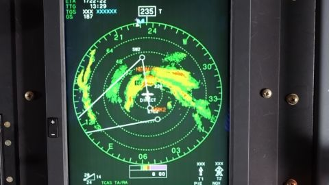 Hermine as it looked on the plane's radar