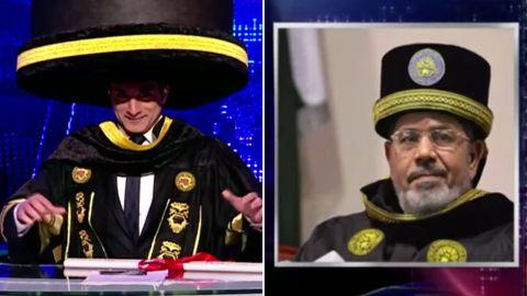"""Youssef mocks Morsy in March 2013 on an episode of """"Al-Bernameg."""""""