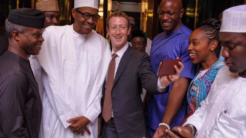 Zuckerberg meets Nigerian President Muhammadu Buhari, and Vice President Yemi Osinbajo in Abuja, Nigeria, on September 2.