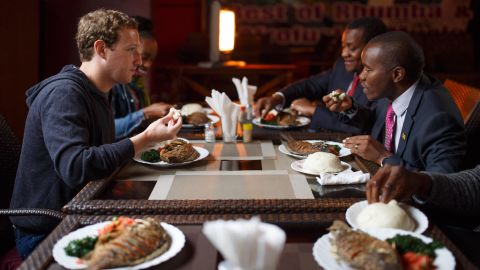 """Zuckerberg has lunch in Nairobi with Joseph Mucheru, the Kenyan Cabinet Secretary of Information and Communications. """"We talked about internet access and his ambitious plans for connecting everyone in Kenya,"""" Zuckerberg posted on his Facebook page alongside the image on September 1."""
