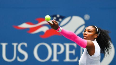 Serena Williams of US serves to Johanna Larsson of Sweden during their 2016 US Open women's singles match at the USTA Billie Jean King National Tennis Center in New York on September 3, 2016. / AFP / EDUARDO MUNOZ ALVAREZ        (Photo credit should read EDUARDO MUNOZ ALVAREZ/AFP/Getty Images)