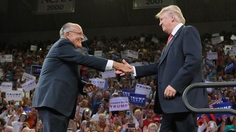 Former New York City Mayor Rudy Giuliani introduces Republican presidential candidate Donald Trump during a campaign event at Trask Coliseum on August 9, 2016 in Wilmington, North Carolina.