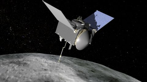 An artist's concept of what the OSIRIS-REx spacecraft will look like as it orbits asteroid Bennu.