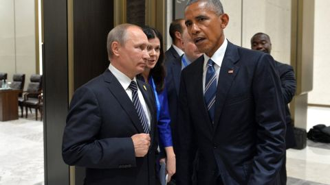Russian President Vladimir Putin meets with President of United States Barack Obama on the sidelines of G20 summit. The leaders discussed Syria and Ukraine.