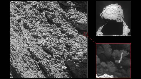 """""""We are so happy to have finally imaged Philae, and to see it in such amazing detail,"""" says Cecilia Tubiana of the OSIRIS camera team. She was the first person to see the images when they were downlinked from the Rosetta probe, according to the European Space Agency."""