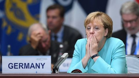 German Chancellor Angela Merkel looks on during the G20 Summit in Hangzhou on September 4, 2016. World leaders are gathering in Hangzhou for the 11th G20 Leaders Summit from September 4 to 5. / AFP / Johannes EISELE        (Photo credit should read JOHANNES EISELE/AFP/Getty Images)