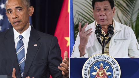 This combination image of two photographs taken on September 5, 2016 shows, at left, US President Barack Obama speaking during a press conference following the conclusion of the G20 summit in Hangzhou, China, and at right, Philippine President Rodrigo Duterte speaking during a press conference in Davao City, the Philippines, prior to his departure for Laos to attend the ASEAN summit.   US President Barack Obama on September 5 called a planned meeting with Rodrigo Duterte into question after the Philippine leader launched a foul-mouthed tirade against him.  / AFP / Saul LOEB AND MANMAN DEJETO        (Photo credit should read SAUL LOEB,MANMAN DEJETO/AFP/Getty Images)