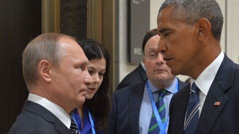 Russian President Vladimir Putin meets with his US counterpart Barack Obama on the sidelines of the G20 Leaders Summit in Hangzhou on September 5.
