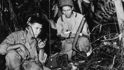 A photograph of Navajo Code Talkers, Cpl Henry Bake, Jr. and PFC George H. Kirk in Bougainville, circa 1943.