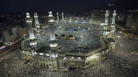 Muslim pilgrims attend the evening prayers inside the Grand Mosque in Mecca