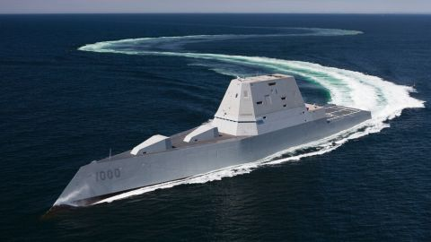 160421-N-YE579-005ATLANTIC OCEAN (April 21, 2016) The future guided-missile destroyer USS Zumwalt (DDG 1000) transits the Atlantic Ocean during acceptance trials April 21, 2016 with the Navy's Board of Inspection and Survey (INSURV). The U.S. Navy accepted delivery of DDG 1000, the future guided-missile destroyer USS Zumwalt (DDG 1000) May 20, 2016. Following a crew certification period and October commissioning ceremony in Baltimore, Zumwalt will transit to its homeport in San Diego for a Post Delivery Availability and Mission Systems Activation. DDG 1000 is the lead ship of the Zumwalt-class destroyers, next-generation, multi-mission surface combatants, tailored for land attack and littoral dominance. (U.S. Navy/Released)