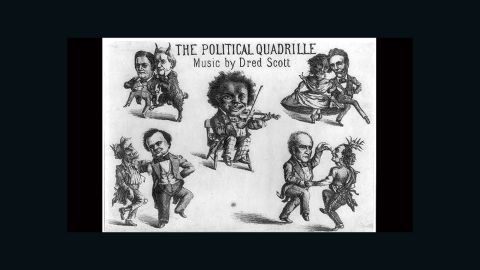 """The four main 1860 candidates are mocked in a cartoon with racist imagery titled, """"The political quadrille. Music by Dred Scott"""" (1860)"""