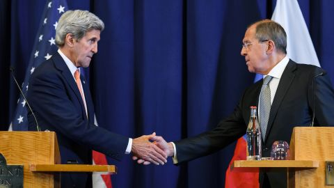 Secretary of State John Kerry and Russian Foreign Minister Sergey Lavrov unveil the new plan Friday.