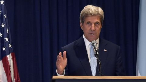 US Secretary of State John Kerry gestures as he speaks during a joint press conference  on August 22, 2016.