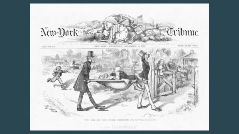 """Thomas Nast's """"We Are On the Home Stretch"""" (1872), published in Harper's Weekly, mocked a politically fallen Greeley (who would die -- literally -- weeks later)"""