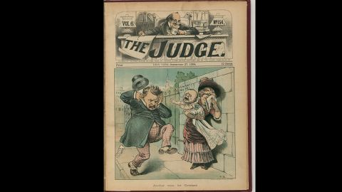 """Grover Cleveland's child, born out of wedlock and mostly abandoned, speaks up in """"Another voice for Cleveland,"""" a cartoon by Frank Beard (1884)"""