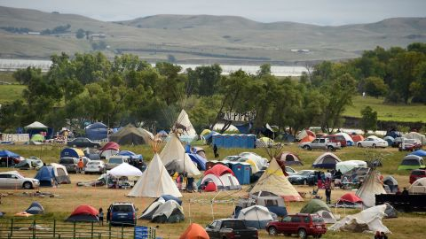 The Missouri River is seen beyond an encampment near Cannon Ball, where hundreds of people gathered to join the protest on September 4.