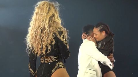 Beyonce's Creative Director John Silver proposes to her dance captain Ashley Everett at a September 10 concert in St. Louis.