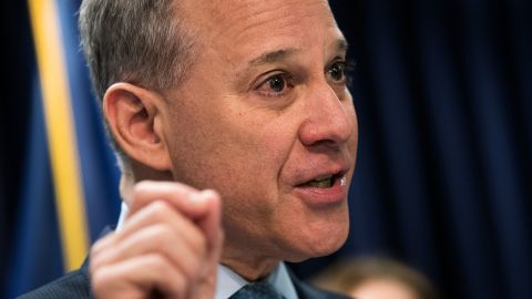 New York Attorney General Eric Schneiderman speaks during a press conference at the office of the New York Attorney General, September 13, 2016 in New York City.