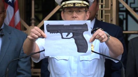 Columbus police Chief Kim Jacobs holds up a picture of what she says is a BB gun like Tyre King's.