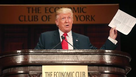 Donald Trump speaks at a lunch hosted by the Economic Club of New York on September 15, 2016 in New York City.