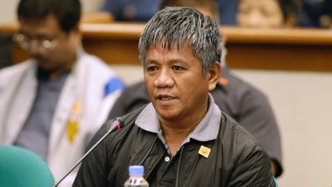 Edgar Matobato answers questions as he testifies before the Philippine Senate in Pasay, south of Manila, Philippines on Thursday Sept. 15, 2016.