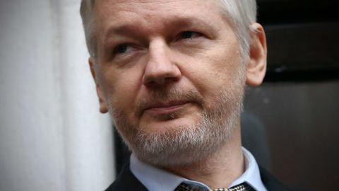 WikiLeaks founder Julian Assange speaks from the balcony of the Ecuadorian Embassy in London in February, 2016.