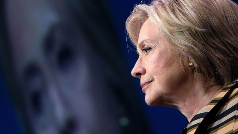 TOPSHOT - Democratic presidential nominee Hillary Clinton pauses while speaking during the Congressional Hispanic Caucus Gala September 15, 2016 in Washington. Hillary Clinton returned Thursday to the campaign fray in a tightening race against Republican Donald Trump, who released new details of his physical fitness in response to the health scare that sidelined his rival. / AFP / Brendan Smialowski        (Photo credit should read BRENDAN SMIALOWSKI/AFP/Getty Images)