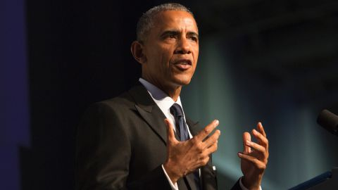 US President Barack Obama speaks during the Congressional Black Caucus Foundation's Phoenix Awards Dinner on September 17, 2016 in Washington, DC. / AFP / CHRIS KLEPONIS        (Photo credit should read CHRIS KLEPONIS/AFP/Getty Images)