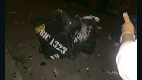 The New York Police Department's Counterterrorism Bureau tweeted this image of the crumpled dumpster following the explosion in Chelsea.