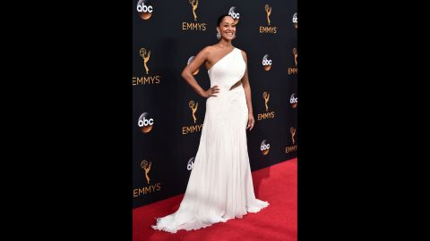 Tracee Ellis Ross arrives on the red carpet for the 68th Annual Primetime Emmy Awards on Sunday, September 18 in Los Angeles.