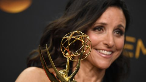 """Actress Julia Louis-Dreyfus with another prize for """"Veep"""" -- Best Actress in a Comedy Series."""