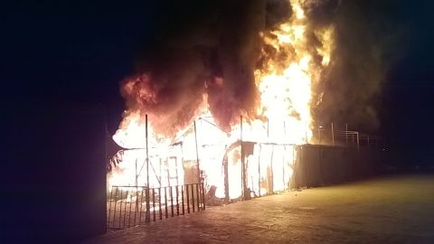 The fire at Moria refugee camp on the Greek island of Lesbos.