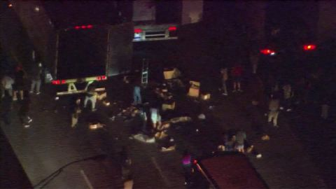 charlotte police shooting protesters block highway start fire_00002506.jpg