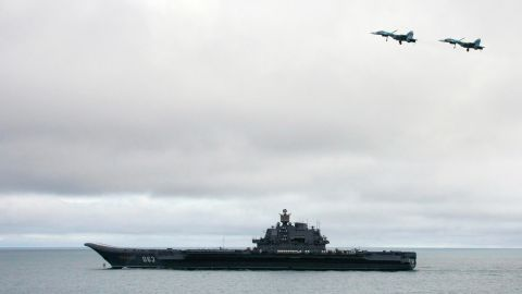 AT BARENTS SEA, RUSSIAN FEDERATION:  Russian aircraft-carrier Admiral Kuzhetsov is seen during a military exercises of the North Fleet, 17 August 2005. Two submarines, the Northern Fleet's flagship Pyotr Veliky cruiser and Russia's only aircraft carrier Admiral Kuznetsov, as well as long-range aircraft, were taking part in the Barents Sea manoeuvres, the first of four exercises due to take place in August and September. AFP PHOTO / ITAR-TASS / PRESIDENTIAL PRESS SERVICE  (Photo credit should read ALEXEY PANOV/AFP/Getty Images)