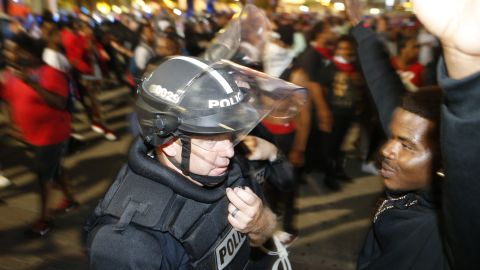 Protesters march in the streets of Charlotte on September 21.