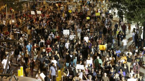 Demonstrators fill the streets in downtown Charlotte.