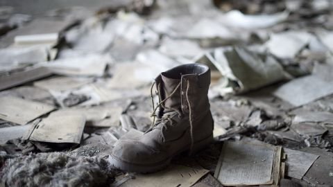 A coal miner's boot remains inside the St. Nicholas Coal Breaker in Manahoy City, Pennsylvania.