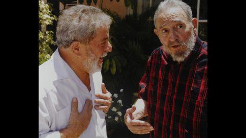 Fidel Castro meets with ex-President of Brazil Lula Ignacio de Silva.