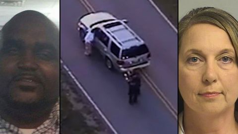 Terrence Crutcher, left, and Officer Betty Shelby, right