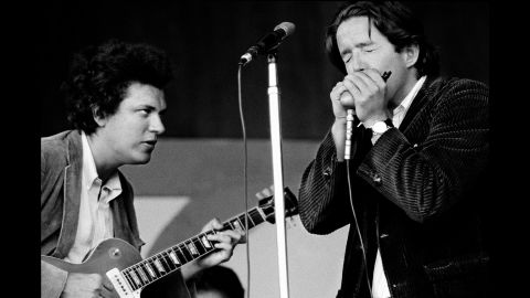 Mike Bloomfield and Paul Butterfield at the Monterey Jazz Festival in 1966.