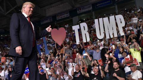 TOPSHOT - Republican presidential nominee Donald Trump arrives to speak at a rally at Germain Arena in Estero, Florida on September 19, 2016. / AFP PHOTO / Mandel NganMANDEL NGAN/AFP/Getty Images