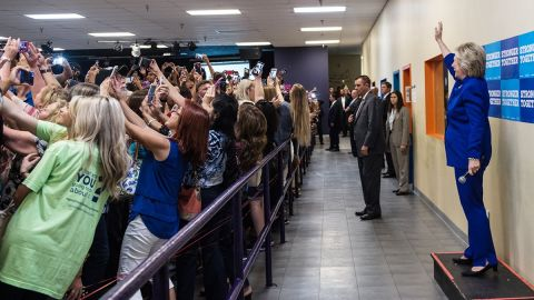 """People <a href=""""http://www.cnn.com/2016/09/26/politics/hillary-clinton-crowd-selfie-goes-viral/"""" target=""""_blank"""">take selfies</a> in front of Democratic presidential nominee Hillary Clinton at a campaign rally in Orlando on Sunday, September 25."""