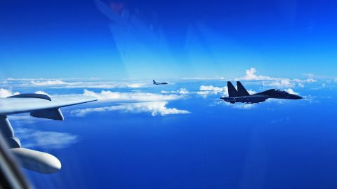 China's Air Force sent more than 40 aircraft to the West Pacific near the Japanese island of Okinawa on Sunday, for what state-media called routine drills.