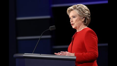 HEMPSTEAD, NY - SEPTEMBER 26:  Democratic presidential nominee Hillary Clinton speaks during the Presidential Debate at Hofstra University on September 26, 2016 in Hempstead, New York.  The first of four debates for the 2016 Election, three Presidential and one Vice Presidential, is moderated by NBC's Lester Holt.  (Photo by Win McNamee/Getty Images)