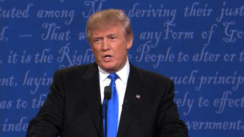 Donald Trump speaking at the 1st Presidential Debate at Hofstra University, New York on September 26, 2016