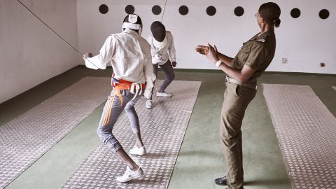 The fencing program, encourages designated prison guards to be trained in the art of fencing, and in turn practice alongside their detainees to build trust. All the children are aged between 13 and 17. <br />